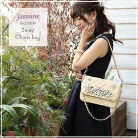 再入荷【 jasmine】ビジューバッグ クラッチバック ショルダーバック J716510 MIYUKIドレス ブラック 黒(キャバドレス ナイトドレス MIYUKIドレス )