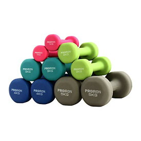 PROIRON ダンベル「2個セット1kg/2kg/3kg/4kg/5kg/8kg/10kg」ダンベルセット ソフトコーティングで [筋力トレーニング 筋トレ シェイ