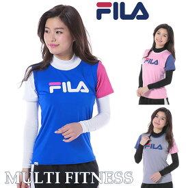 レディース 半袖Tシャツ・ハイネック ロンT 2点セット フィットネス トレーニング ヨガウェア フィラ FILA M L LL