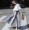 ワイドパンツ フレアパンツ ロング ガウチョ レディース ウエストゴム モード系 スカートパンツ バイカラー 袴パンツ シフォン M L XL