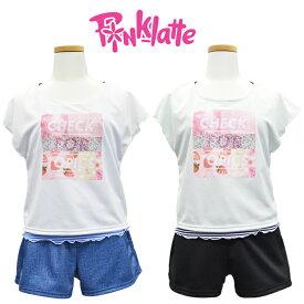 水着 PINK-latte ピンクラテ ジュニア 水着 子供 女の子 140/150/160/170cm カップ付 プリントTシャツ付 水着 タンキニ