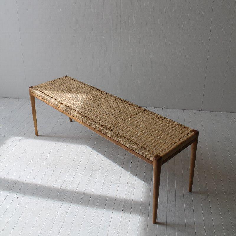 ダイニングベンチ /ダイニングベンチ/木製/無垢/北欧/おしゃれ/ベンチ/チーク材/ラタン/ダイニング/2人/NRT-B-877