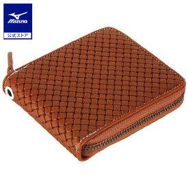 [ミズノ]グラブ革ファスナー付二つ折り財布(型押し)