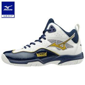 ミズノ公式 ルーキーBB5 バスケットボールシューズ ジュニア   ホワイト×ゴールド×ネイビー