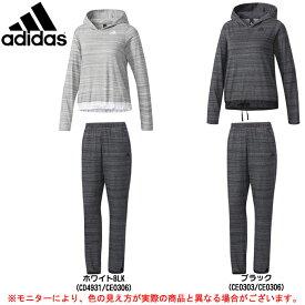 adidas(アディダス)W ID ライト ヘザー スウェット フーディ 上下セット(DUV27/DUV28)(スポーツ/トレーニング/フィットネス/パーカー/パンツ/女性用/レディース)