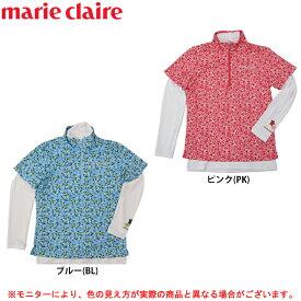 marie claire(マリクレール)半袖ハーフジップシャツ 長袖ハイネックアンダーシャツ セット(717505)(ゴルフ/ウェア/カジュアル/吸汗速乾/UVカット/日焼け防止/女性用/レディース)