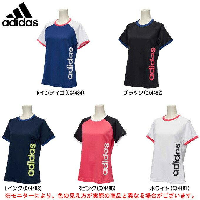 adidas(アディダス)TEAM サイドリニアカラーブロックTEE(EUA63)(スポーツ/トレーニング/フィットネス/カジュアル/Tシャツ/女性用/レディース)