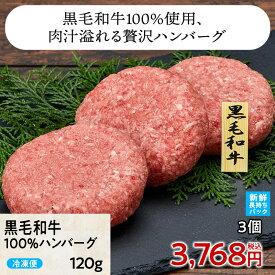 ≪送料無料≫黒毛和牛100%ハンバーグ 120g 3個