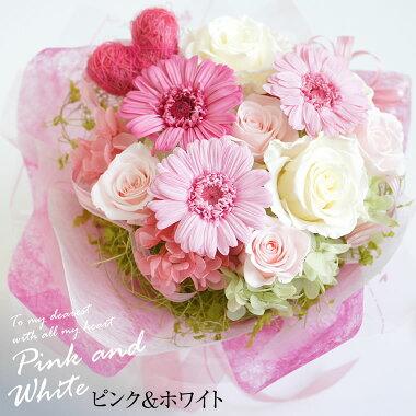 誕生日に薔薇の花束ピンクホワイト