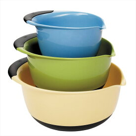 OXO オクソー ミキシングボールセット ブルー グリーン イエロー Good Grips Mixing Bowl Set with Handles, 3-Piece Blue Green Brown 送料無料 【並行輸入品】