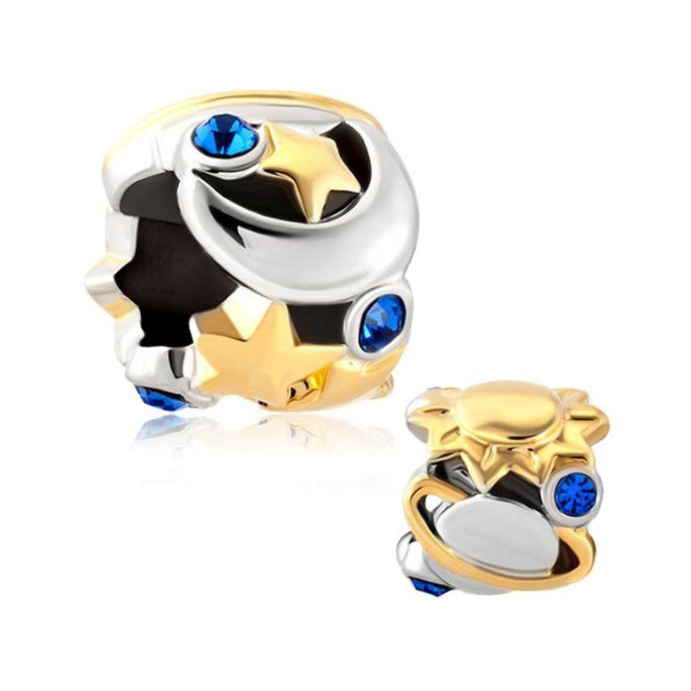 チャーム ブレスレット バングル用 CharmSStory チャームズストーリー I Love You To The Moon And Back Blue Birthstone Charms Beads For Bracelets 送料無料 【並行輸入品】