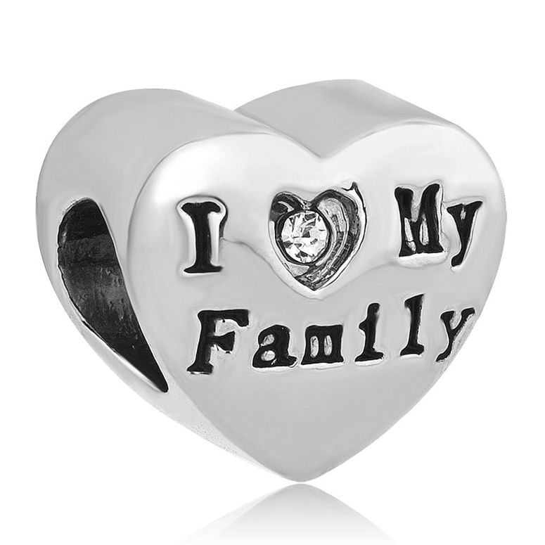 チャーム ブレスレット バングル用 CharmSStory チャームズストーリー I Love Family Charms Together Forever Happy Heart Bead Charm For Bracelets