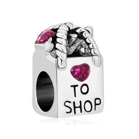 チャーム ブレスレット バングル用 LovelyJewelry ラブリージュエリー Love to Shop Charms Antique Shopoing Bag Rose Crystal Birthstone Heart Jewelry Beads Fit Pandora Charm Bracelets Girls Womens Gifts 送料無料 【並行輸入品】