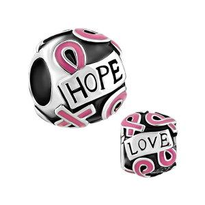 チャーム ブレスレット バングル用 LovelyJewelry ラブリージュエリー Breast Cancer Awareness Pink Ribbon Courage Hope Beads Fit Pandora Charms Bracelet 送料無料 【並行輸入品】