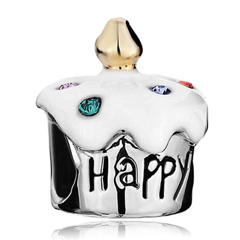 チャーム ブレスレット バングル用 パンドラチャームと適合 LovelyJewelry ラブリージュエリー Happy Birthday Cake White Drip Gum Sale Cheap Jewelry Beads Fit Pandora Bracelets