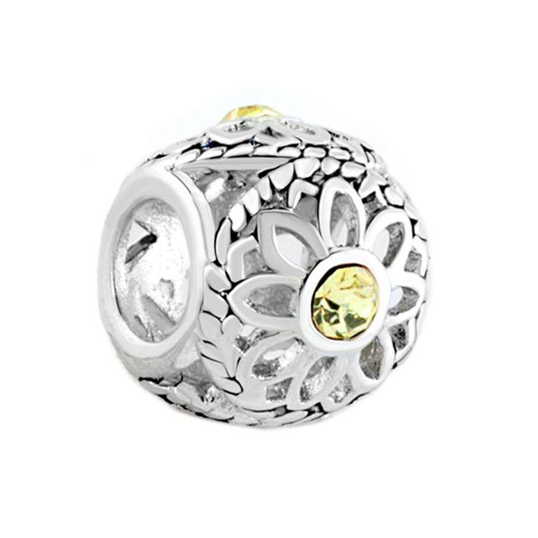 チャーム ブレスレット バングル用 パンドラチャームと適合 LovelyJewelry ラブリージュエリー Jewelry Crystal Birthstone of Topaz Yellow in Filigree Daisy Flower Beads Fit Pandora Charms Bracelet