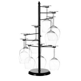 MyGift Freestanding Tabletop Stemware Rack / Spiraling 10 Wine Glass Holder, Black 送料無料 【並行輸入品】