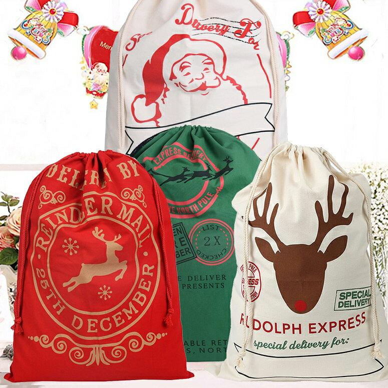 クリスマス ギフトバッグ 4種 サンタ トナカイ ラッピング 袋 巾着 バッグ 大 / 赤 レッド 緑 グリーン 白 ホワイト / ぬいぐるみ 包装紙 XL 50×70cm サイズ プレゼント包装 クリスマス ラッピング用 包装 / プレゼント サンタクロース おしゃれ キンチャク 国内在庫