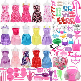 SOTOGO 106 Pcs Barbie バービー doll 人形 Clothes Set Include 15 Pack Barbie バービー Clothes Party Grown Outfits Randomly 90 Pcs Different Barbie バービー doll 人形 Accessories - The Great Gift For Little Girl 送料無料 【並行輸入品】
