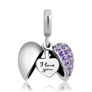 チャーム ブレスレット バングル用 ShinyJewelry シャイニージュエリー ShinyJewelry I Love You Heart Charm Dangle Bead for European Bracelet Necklace Purple 送料無料 【並行輸入品】
