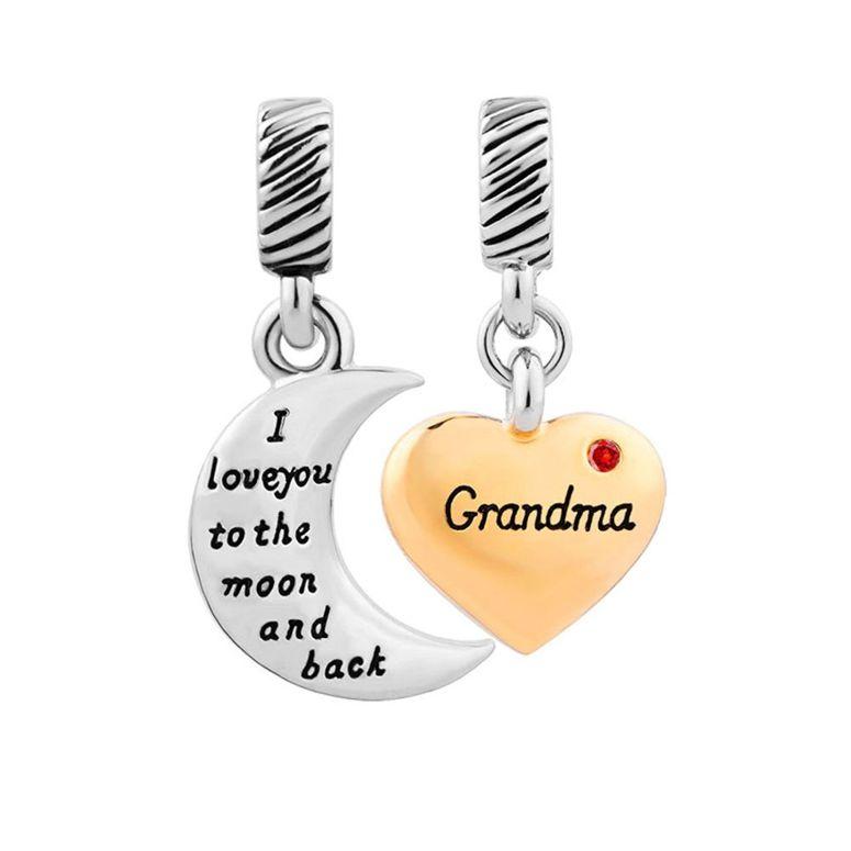 チャーム ブレスレット バングル用 ShinyJewelry シャイニージュエリー ShinyJewelry Grandma Charm I Love You To The Moon And Back Beads For Bracelets Jul.
