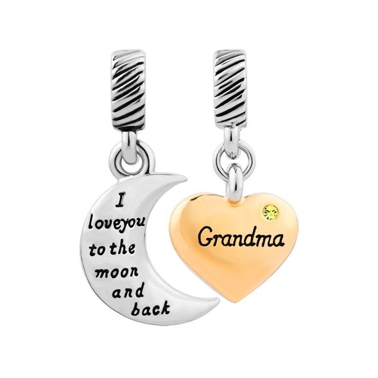 チャーム ブレスレット バングル用 ShinyJewelry シャイニージュエリー ShinyJewelry Grandma Charm I Love You To The Moon And Back Beads For Bracelets Nov.