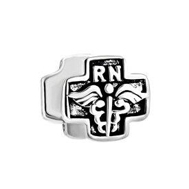 チャーム ブレスレット バングル用 ShinyJewelry シャイニージュエリー ShinyCharm Sterling Silver Cross With Caduceus And Rn Nurse Charm Bead For Bracelets 送料無料 【並行輸入品】