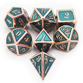 多面体ダイスセット ウォーゲーム TRPG テーブルトーク DND に Haxtec 7PCS Metal Dice Set DND Dice D20 D12 D10 D8 D6 D4 for Dungeons and Dragons DND RPG MTG Table Games-Glossy Enamel Dice (Copper Teal) 送料無料 【並行輸入品】