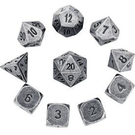 多面体ダイス メタルダイス ウォーゲーム TRPG テーブルトーク DND に Hestya 10 Pieces Metal Dices Set DND Game Polyhedral Solid D&D Dice Set with Storage Bag and Zinc Alloy with Printed Numbers for Role Playing Games 送料無料 【並行輸入品】