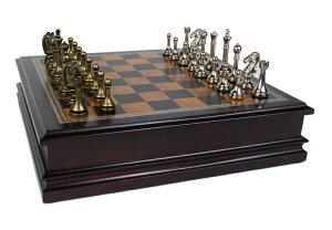 """チェスセット ギフト Classic Game Collection Metal Chess Set with Deluxe Wood Board and Storage - 2.5"""" King 送料無料 【並行輸入品】"""