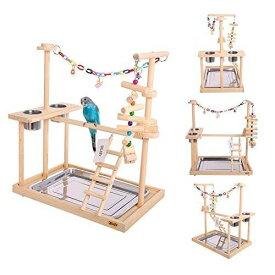 """バードアスレチック オウム ヨウム スタンド QBLEEV Parrot Wood Stand Perch Bird Playstand Playground Playgym Playpen Ladder with Toys Exercise Play (Include a Tray)(19"""" L13 W21 H 送料無料 【並行輸入品】"""