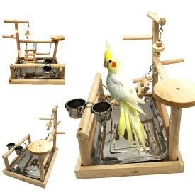 バードアスレチック オウム ヨウム スタンド Borangs Parrots Playstand Bird Playground Wood Perch Gym Stand Playpen Bird Ladders Exercise Playgym with Feeder Cups for Parakeet Conure Cockatiel Lorikeet Budgie Cage Accessories Exercise 送料無料 【並行輸入品】