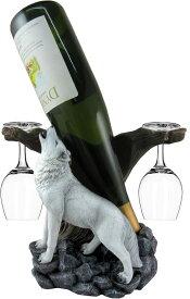 ワインホルダー ウルフ 狼 卓上ワインラック DWK - Wine of The Wild - Howling White Wolf Wine Display Set with Glasses Mountain Forest Woodland Bottle Holder Home Decor Table Centerpiece Kitchen Accessory Dining Accent, 10-inch 送料無料 【並行輸入品】