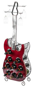 ワインホルダー メタルギター ワインラック Vintiquewise Decorative Wine Holder Vintage Wood and Metal Guitar Shaped 9 Bottle Freestanding, Large, Red 送料無料 【並行輸入品】
