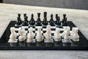 大理石 チェスセット Radicaln 15 Inches Handmade Black and White Large Weighted Marble Full Chess Game Set Staunton and Ambassador Style Tournament Chess Sets -Non Wooden Metal -Non Magnetic -No Digital Dgt -Not Chinese 送料無料 【並行輸入