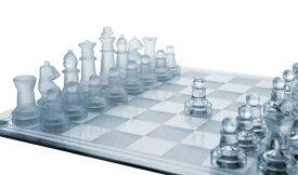 """ガラス チェスセット Glass Chess Set, 3 Sizes (7.5""""/10""""/14"""") - Elegant Design- Durable Build- Fully Functional - 32 Frosted & Clear Pieces - Felted Bottoms- Easy to Carry- Reassuringly Stable - Perfect Gift! 送料無料 【並行輸入品】"""
