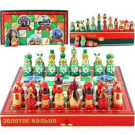 ロシア マトリョーシュカ チェスセット Russian Nesting Dolls Chess Set Board Game - Souvenirs Themed Chess Russian Gold Ring Architectural Values of Russia - Matryoshka Doll Chess Pieces Wood Decor - Decorative Unique Chess Set Tourn 送料無料 【並行輸入品】