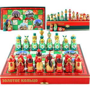 ロシア マトリョーシュカ チェスセット Russian Nesting Dolls Chess Set Board Game - Souvenirs Themed Chess Russian Gold Ring Architectural Values of Russia - Matryoshka Doll Chess Pieces Wood Decor - Decorative Unique Chess Set Tourn 送料