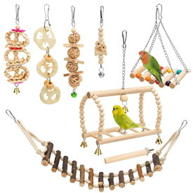 鳥用品 グッズ オウム インコ オカメインコ 十姉妹 文鳥 セキセイ 小鳥のおもちゃ 8 Packs Bird Parrot Swing Hanging Toy,Natural Wood Bell Bird Cage Toys for Parrots, Parakeets, Cockatiels, Conures, Finches,Budgie,Parrots, Love Birds, Au 送料無料 【並行輸入品】