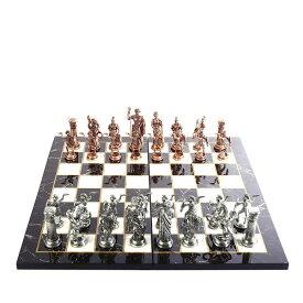 メタルチェスセット 銅 ローマ帝国 木製チェスボード(大理石風) Historical Antique Copper Rome Figures Metal Chess Set for Adults, Handmade Pieces and Marble Design Wood Chess Board King 4.3 inc 送料無料 【並行輸入品】