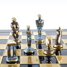 キクラデスアート チェスセット Cycladic Art Large Chess Set - Bronze Material - Blue Chess Board 送料無料 【並行輸入品】