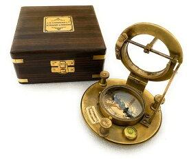 真鍮製 日時計 コンパス 真ちゅう サンダイアル Vintage Marine Nautical Decor Triangle Sundial Brass Compass with Wooden Box/ J.H. Steward Directional Magnetic for Navigation/Sundial Pocket Camping, Hiking, Touring 送料無料 【並行輸入品】