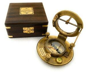 真鍮製 日時計 コンパス 真ちゅう サンダイアル Vintage Marine Nautical Decor Triangle Sundial Brass Compass with Wooden Box/ J.H. Steward Directional Magnetic for Navigation/Sundial Pocket Camping, Hiking, Touring 【並行輸入品】