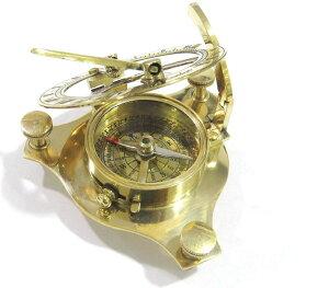 """真鍮製 日時計 コンパス 真ちゅう サンダイアル NauticalMart 3"""" Brass Sundial Compass W/Case ~ Pocket Sundial Compass ~ Nautical Gift 【並行輸入品】"""