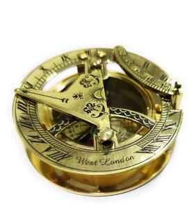 真鍮製 日時計 コンパス 真ちゅう サンダイアル Brass Compass Round Sundial Gift Directional Magnetic Compass 【並行輸入品】