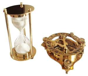 真鍮製 日時計 コンパス 真ちゅう サンダイアル RKS Collections 3 inch Brass Sundial Compass.and 1 Minute Hourglass Sand Timer Combo.Golden Pure Brass Items.Brass Hourglass sandtimer and Sundial Compass Combo.Brass Combo Product 【並行