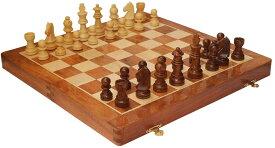 チェスセット 14 Inch Large Wood Magnetic Chess Set with Storage - Folding Wooden Travel Chess Board Game with Chessmen Storage - Handmade Tournament Chess Set - Best Strategy Educational Toy for Kids Adults Teens 送料無料 【並行輸入品】