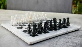 チェスセット RADICALn 15 Inches Large Handmade White and Black Weighted Marble Full Chess Game Set Staunton and Ambassador Style Marble Tournament Chess Sets for Adults - Non Wooden - Non Magnetic - No Digital Dgt 送料無料 【並行輸入品】