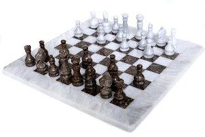 チェスセット RADICALn 15 Inches Large Handmade White and Grey Oceanic Weighted Marble Full Chess Game Set for Adults Staunton and Ambassador Gift Style Tournament Chess Sets -Non Wooden -Non Glass -Not Backgammon 【並行輸入品】