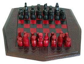 チェスセット NOVICA Red and Black Wood and Leather Chess Set, African Battle' 送料無料 【並行輸入品】